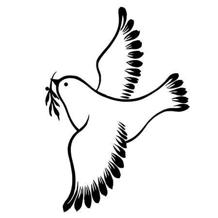 paloma caricatura: vector, art�stico silueta, decorativo en el estilo grunge Vectores