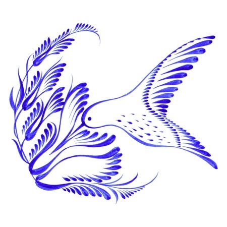 bird of paradise flower: hand drawn illustration in Ukrainian folk style Illustration