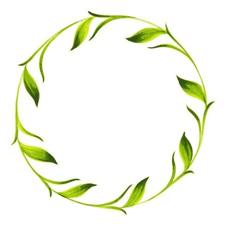 green tea: hand drawn illustration in Ukrainian folk style Illustration