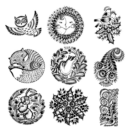 set of hand drawn illustrations in Ukrainian national style Иллюстрация