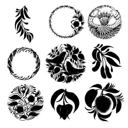 set of hand drawn illustrations in Ukrainian national style Vector