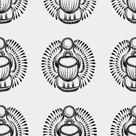 seamless pattern with motive of flower in grunge style