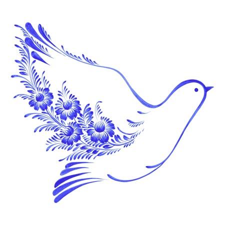paloma caricatura: dibujado a mano en el estilo folk ucraniano Vectores