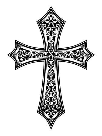 jesus on cross: illustrazione vettoriale di croce scolpita, immagine adatto per la stampa su una T-shirt, cos� come per tutti i tipi di stampa Si tratta di un simbolo o icona per la fede cristiana