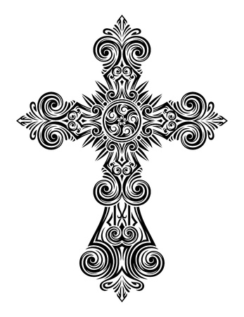 celtic cross: fully editable illustration of vintage cross, Image suitable for logo, design elements, printing on a T-shirt, as well as for all types of printing   Illustration