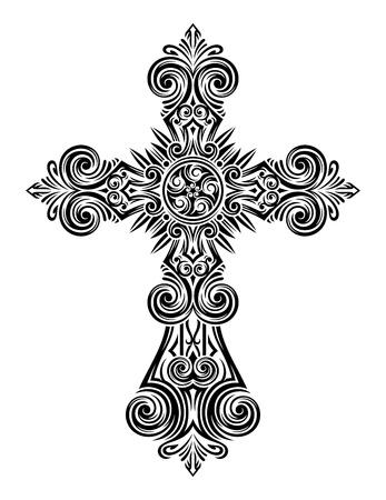 illustrazione completamente modificabili di cross d'epoca, Immagine adatto per il logo, elementi di design, stampa su t-shirt, cos� come per tutti i tipi di stampa