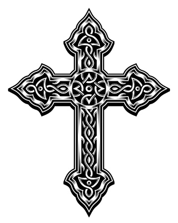 cruz cristiana: Adornado Cruz cristiana Vector