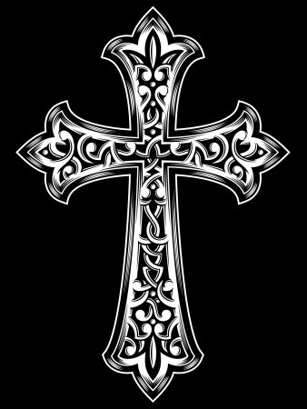 cruz de jesus: Antique Cruz cristiana Vectores