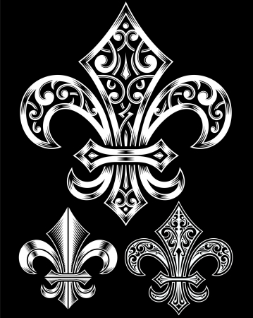 lis: Vintage Heraldry Fleur De Lis Set Illustration