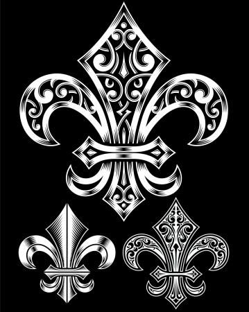 lily: Vintage Heraldry Fleur De Lis Set Illustration