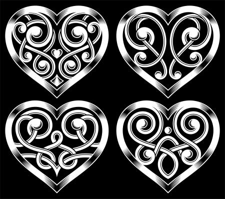 Set of Ornate Heart Shape