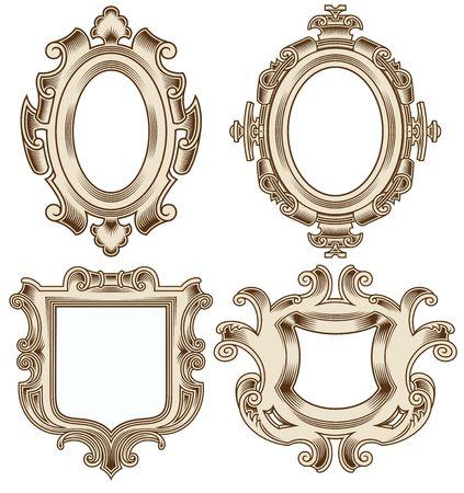 Set van Vintage Heraldische Frame