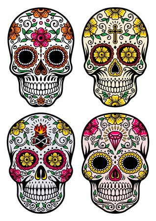 Day Of The Dead Skull Vector Set Vector