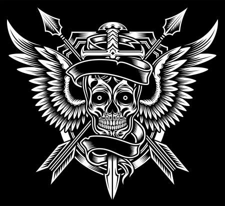 calaveras: Cr�neo con alas con la espada y flechas