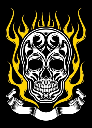 Ornate Flame Skull Vector