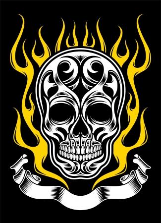 Ornate Flame Skull Illustration