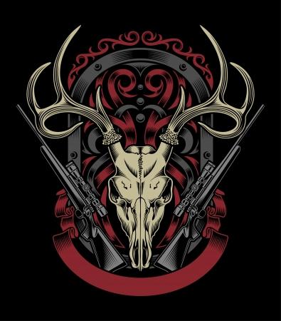 Cráneo de los ciervos con el rifle Ilustración de vector