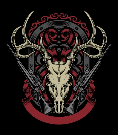 Deer Skull With Rifle