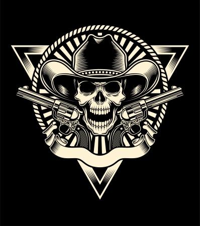 craneo: Sheriff Cr�neo con Revolver Vectores
