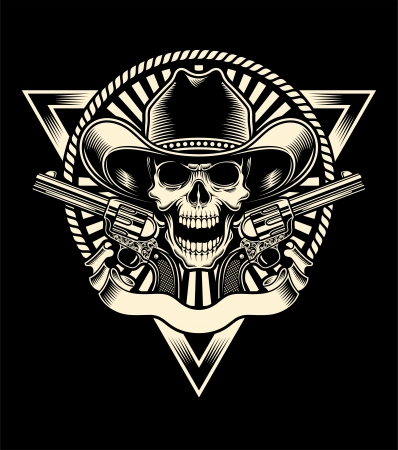 Sheriff Skull With Revolver Vector