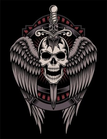 立ち往生の剣で翼の頭蓋骨