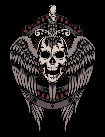 Winged Skull With Sword Stuck Ilustrace
