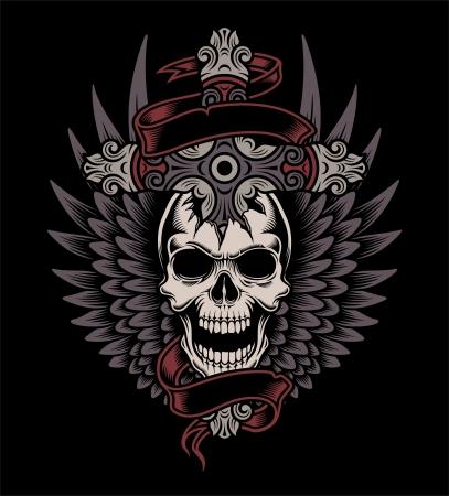 kruzifix: Winged Skull mit Kreuz