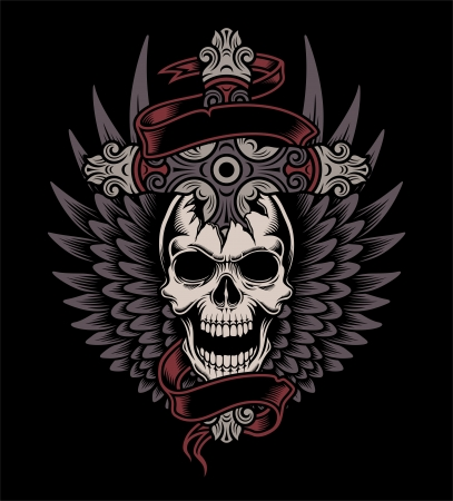cross bones: Winged Skull With Cross Illustration