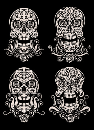 Day of The Dead Skull Tattoo Vector Set Ilustração