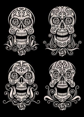 Day of The Dead Skull Tattoo Vector Set Illustration