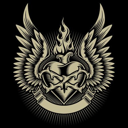 el coraz�n de san valent�n: Winged Burning Heart con las espinas y la cinta