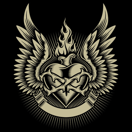heart with wings: Winged Burning Heart With Thorns and Ribbon  Illustration