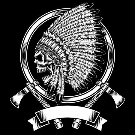 native indian: Native American Skull Jefe Indio Con Tomahawk Vectores