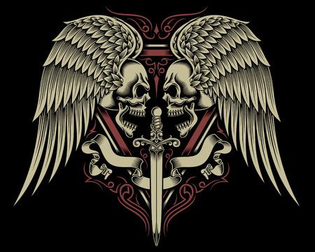 Janusköpfig Schädel mit Flügeln und Schwert Illustration