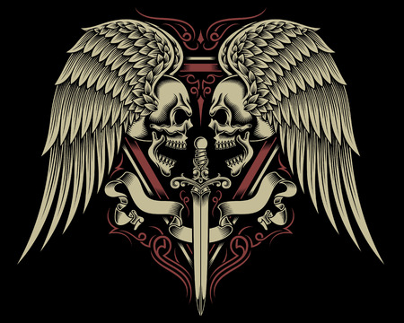 skull tattoo: Two Faced Skull With Wings and Sword Illustration