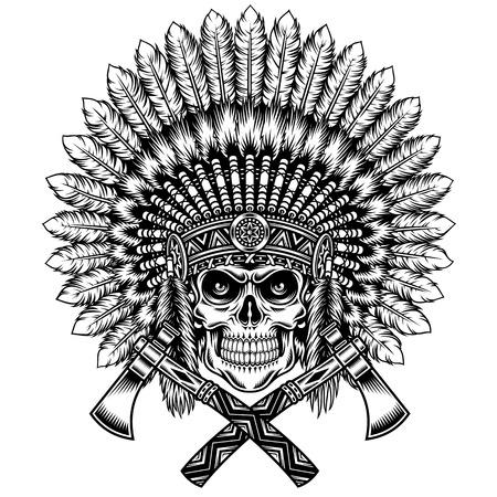 indio americano: Americana Cráneo del jefe indio Con Tomahawk Vectores