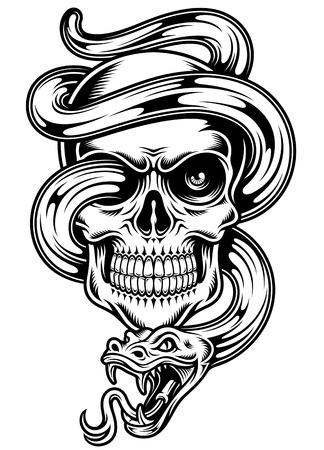 white snake: Skull With Snake