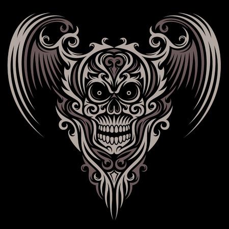 Ornate Winged Skull Ilustracja