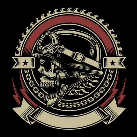 skull and bones: Vintage Biker Skull Emblem Illustration