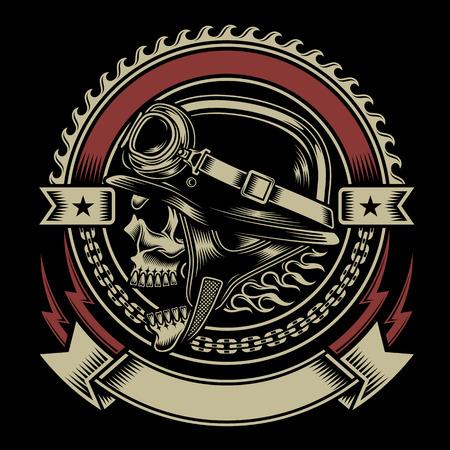 Vintage Biker Skull Emblem Çizim