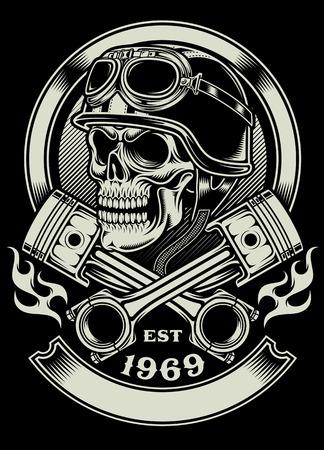 交差させたピストンの紋章を持つビンテージ バイクに乗る人の頭蓋骨