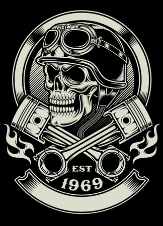 fire skull: Vintage Biker Skull With Crossed Piston Emblem Illustration