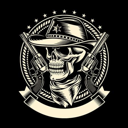 Cowboy Skull with Handguns Vector