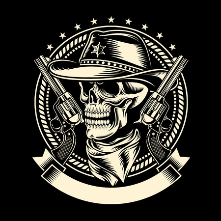 old cowboy: Cowboy Skull with Handguns