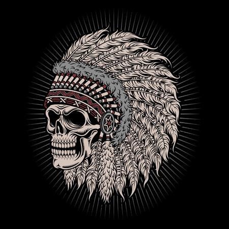 ネイティブ アメリカン インディアン チーフ スカル  イラスト・ベクター素材