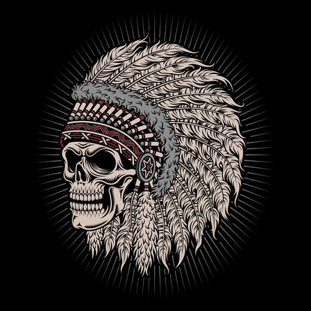 indian chief mascot: Native American Indian Chief Skull