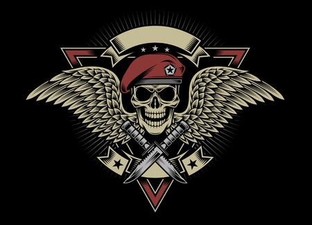 Military Skull with Wings and Daggers 일러스트