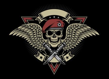 insignias: Cráneo militar con alas y Dagas
