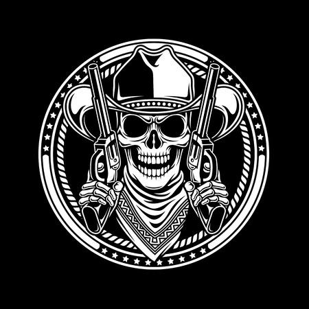 tete de mort: Cowboy Skull Tenez Guns