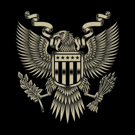 アメリカン ・ イーグルの紋章  イラスト・ベクター素材